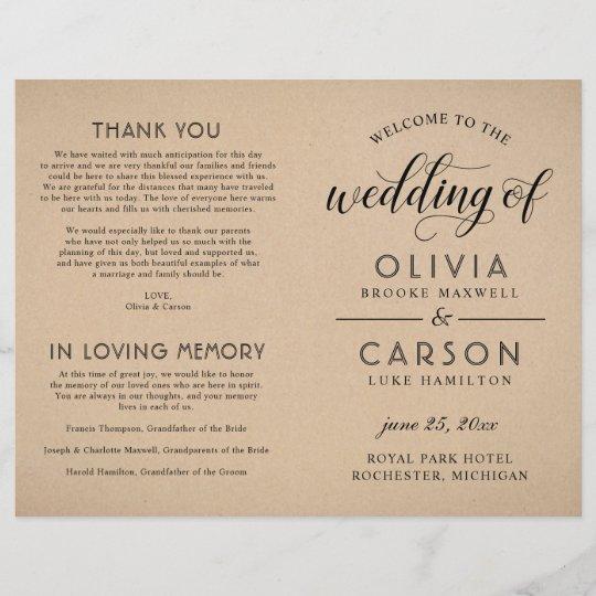 Modern Kraft and Black Script Wedding Ceremony