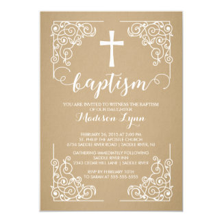 Modern Kraft Baptism Christening Cross Invitation