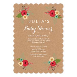 Modern Kraft Floral Baby Shower Invite
