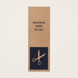 Modern Kraft Paper Blue Scissor Hair Stylist Mini Business Card