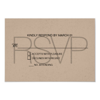Modern Kraft RSVP Wedding Response Reply Card