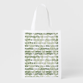 Modern Kwanzaa African American Holiday Reusable Grocery Bags