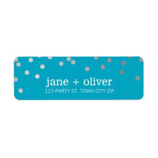 MODERN LABEL cute confetti spots silver turquoise