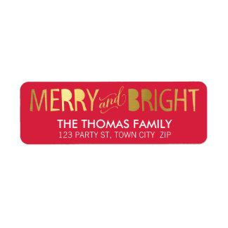 MODERN LABEL merry & bright bold gold foil red Return Address Label