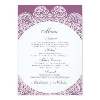 Modern lace and antique fuchsia menu 5x7 paper invitation card