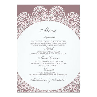 Modern lace and bazaar background wedding menu 5x7 paper invitation card
