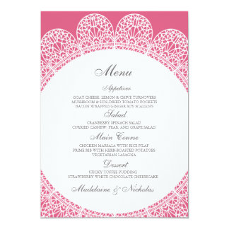 Modern lace and blush wedding menu card