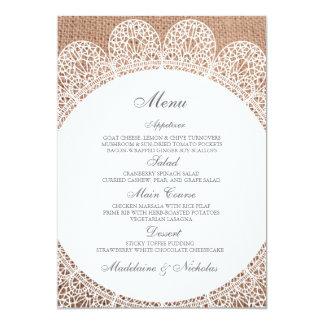 Modern lace and burlap wedding menu 5x7 paper invitation card