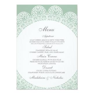 Modern lace and cambridge blue wedding menu 5x7 paper invitation card