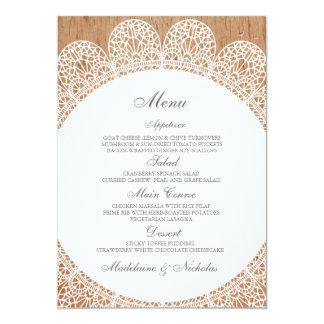 Modern lace and wood wedding menu 5x7 paper invitation card