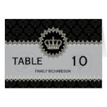Modern Lace Crown Damask Wedding Table Number Card