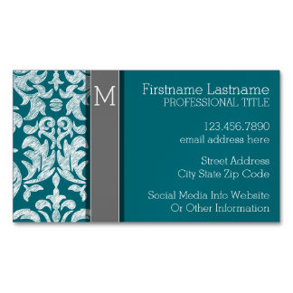 Modern Lace Damask Pattern - Blue and Gray Business Card Magnet