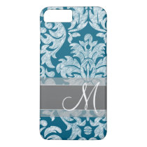 Modern Lace Damask Pattern - Blue and Gray iPhone 8 Plus/7 Plus Case