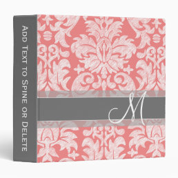 Modern Lace Damask Pattern - Coral and Gray 3 Ring Binder