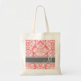 Modern Lace Damask Pattern - Coral and Gray Budget Tote Bag