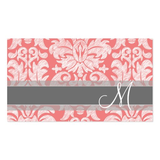 Modern Lace Damask Pattern - Coral and Gray Business Card Template