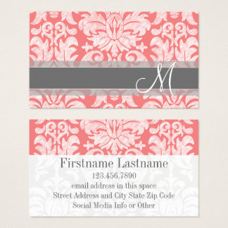 Modern Lace Damask Pattern - Coral and Gray Business Card
