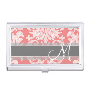 Modern Lace Damask Pattern - Coral and Gray Business Card Holder