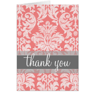 Modern Lace Damask Pattern - Coral and Gray Card