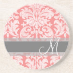 Modern Lace Damask Pattern - Coral and Gray Drink Coaster