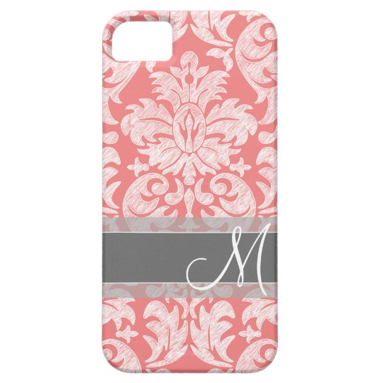 Modern Lace Damask Pattern - Coral and Gray iPhone SE/5/5s Case