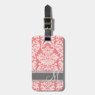 Modern Lace Damask Pattern - Coral and Gray Luggage Tag