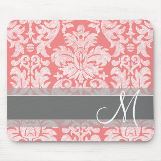 Modern Lace Damask Pattern - Coral and Gray Mouse Pad