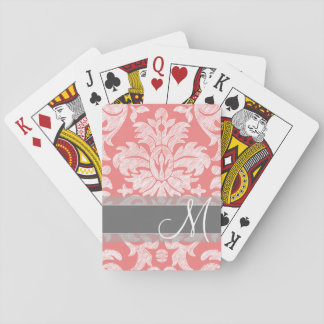 Modern Lace Damask Pattern - Coral and Gray Card Deck