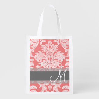 Modern Lace Damask Pattern - Coral and Gray Reusable Grocery Bag