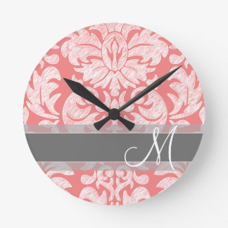Modern Lace Damask Pattern - Coral and Gray Round Clock