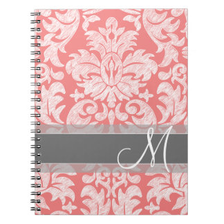 Modern Lace Damask Pattern - Coral and Gray Spiral Notebook