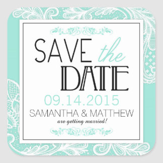 Modern Lace Save the Date Label
