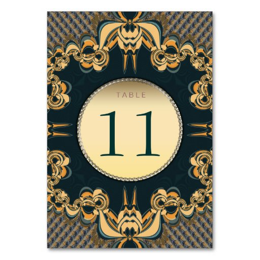 Modern Lace Teal Gold Table Number Card