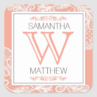 Modern Lace Wedding Gift Label
