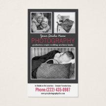 Modern Lady Photographer with 3 Sample Photos Business Card