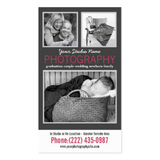 Modern Lady Photographer with 3 Sample Photos Double-Sided Standard Business Cards (Pack Of 100)