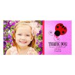 Modern Ladybug Personalized Thank You Customized Photo Card