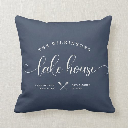 Modern Lake House Family Name Brush Script Blue Throw Pillow