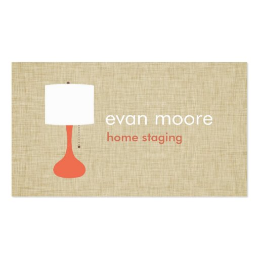 Modern lamp home staging business card linen for Home staging business cards