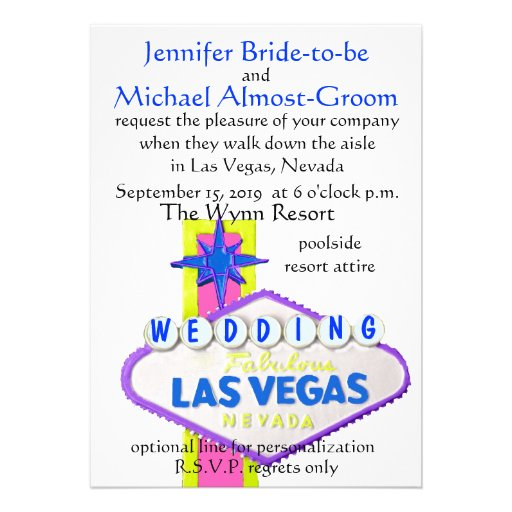Modern Las Vegas Wedding Personalized Invites