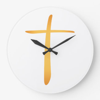 Modern Latin Christian Cross Large Clock