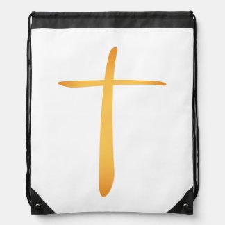 Modern Latin Christian Cross Drawstring Bags