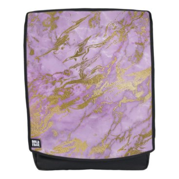 Aztec Themed Modern Lavender and Gold Marble Backpack