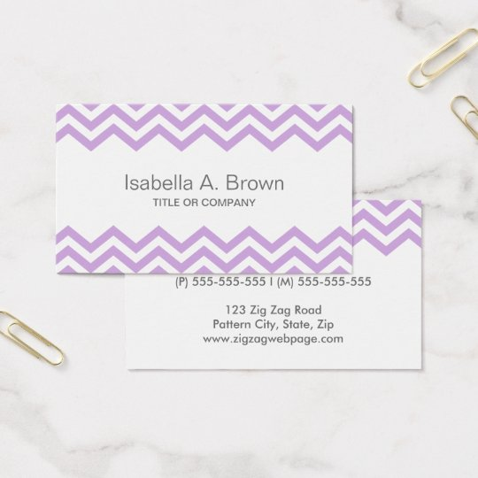 Modern lavender chevron pattern business card