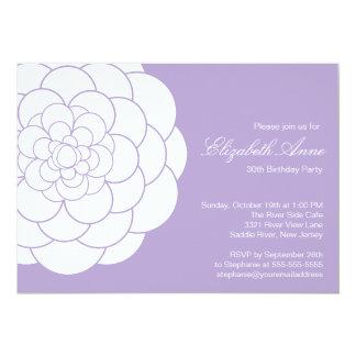 "Modern Lavender Dahlia Bloom Birthday Party 5"" X 7"" Invitation Card"