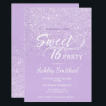 """Modern lavender glitter ombre purple Sweet 16 Invitation<br><div class=""""desc"""">A modern,  pretty faux lavender glitter shower ombre with purple color block Sweet 16 birthday party invitation with elegant typography  with purple ombre pattern. Perfect for a princess Sweet sixteen.</div>"""
