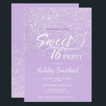"Modern lavender glitter ombre purple Sweet 16 Invitation<br><div class=""desc"">A modern,  pretty faux lavender glitter shower ombre with purple color block Sweet 16 birthday party invitation with elegant typography  with purple ombre pattern. Perfect for a princess Sweet sixteen.</div>"