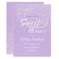 Modern lavender glitter ombre purple Sweet 16 Invitation