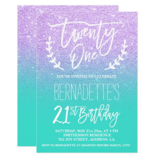 Modern lavender glitter typography 21st Birthday Card
