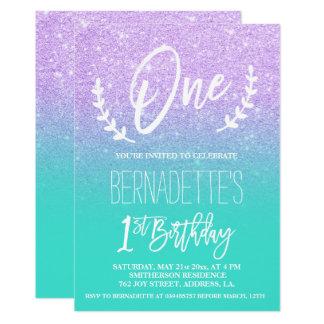 Modern lavender glitter typography first Birthday Card